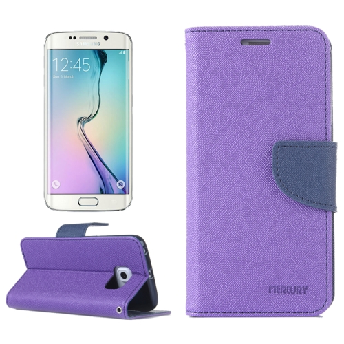 MERCURY Cross Texture Flip Leather Wallet Case for Samsung Galaxy S6 Edge with Card Slots & Stand (Purple)