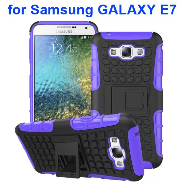2 in 1 Snap-On Grid Pattern TPU and Hard Protective Cover for Samsung GALAXY E7 with Stand (Purple)