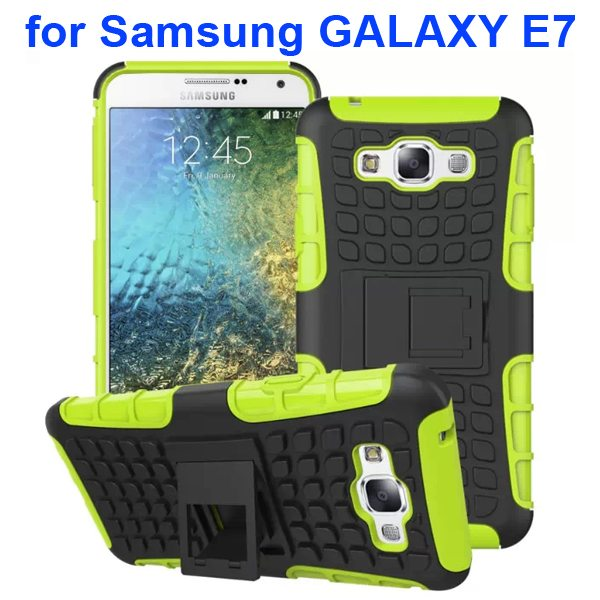 2 in 1 Snap-On Grid Pattern TPU and Hard Protective Cover for Samsung GALAXY E7 with Stand (Green)