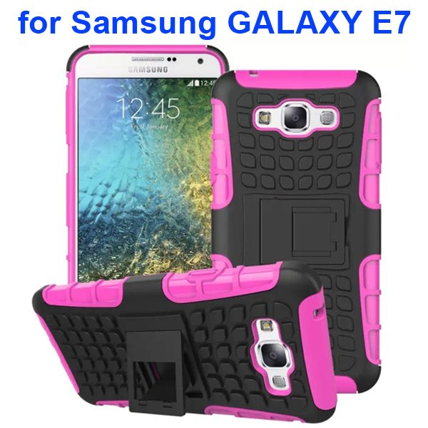 2 in 1 Snap-On Grid Pattern TPU and Hard Protective Cover for Samsung GALAXY E7 with Stand (Magenta)