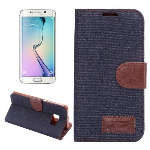 Denim Texture Horizontal Flip Magnetic Buckle Flip Leather Wallet Case for Samsung Galaxy S6 Edge(Black)