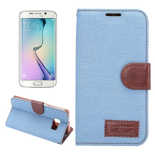 Denim Texture Horizontal Flip Magnetic Buckle Flip Leather Wallet Case for Samsung Galaxy S6 Edge(Baby Blue)