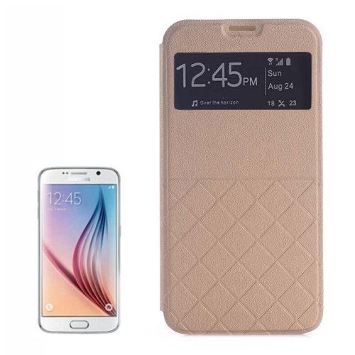 Frosted Rhombus Texture Flip Leather Case for Samsung Galaxy S6 Edge with Caller ID Display Window (Beige)