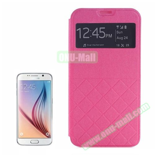 Frosted Rhombus Texture Flip Leather Case for Samsung Galaxy S6 Edge with Caller ID Display Window (Rose)
