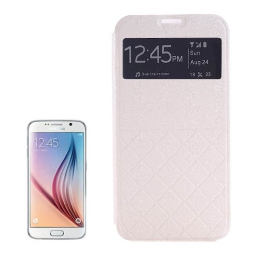 Frosted Rhombus Texture Flip Leather Case for Samsung Galaxy S6 Edge with Caller ID Display Window (White)