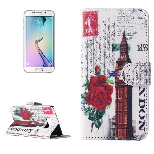 Beautiful Designs Magnetic Snap Flip Leather Wallet Case for Samsung Galaxy S6 Edge (Big Ben Pattern)