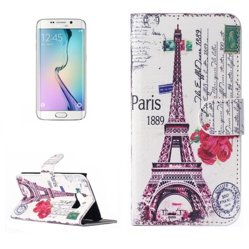 Beautiful Designs Magnetic Snap Flip Leather Wallet Case for Samsung Galaxy S6 Edge (Eiffel Tower and Flower Pattern)