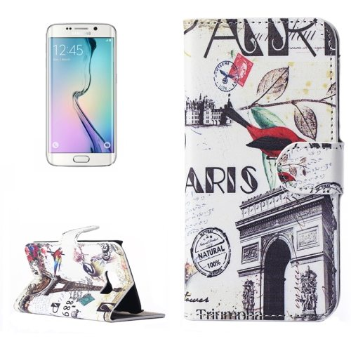 Beautiful Designs Magnetic Snap Flip Leather Wallet Case for Samsung Galaxy S6 Edge (Bird and Triumphal Arch Pattern)