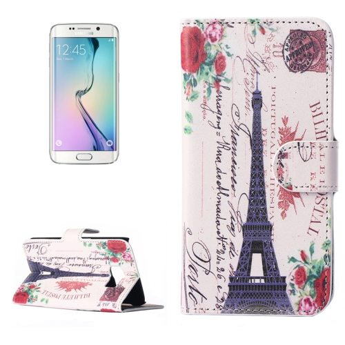 Beautiful Designs Magnetic Snap Flip Leather Wallet Case for Samsung Galaxy S6 Edge (Words and Eiffel Tower Pattern)
