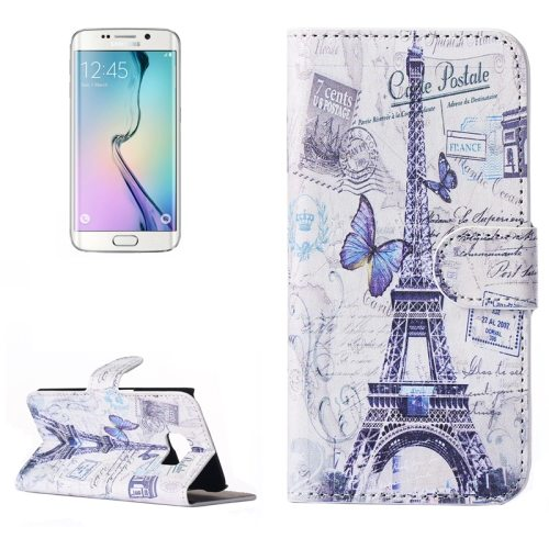 Beautiful Designs Magnetic Snap Flip Leather Wallet Case for Samsung Galaxy S6 Edge (Butterfly and Eiffel Tower Pattern)