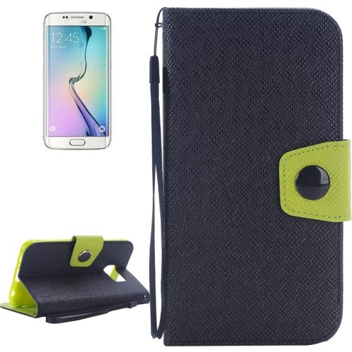 Korean Style Magnetic Flip Wallet Case Cover for Samsung Galaxy S6 Edge (Black+Green)