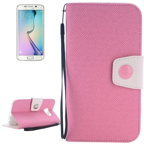 Korean Style Magnetic Flip Wallet Case Cover for Samsung Galaxy S6 Edge (Pink+White)