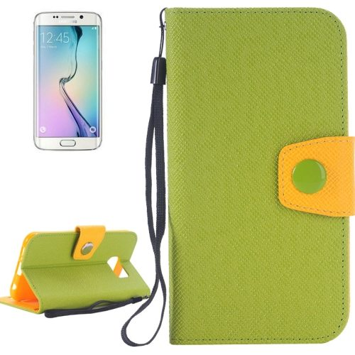 Korean Style Magnetic Flip Wallet Case Cover for Samsung Galaxy S6 Edge (Green+Orange)