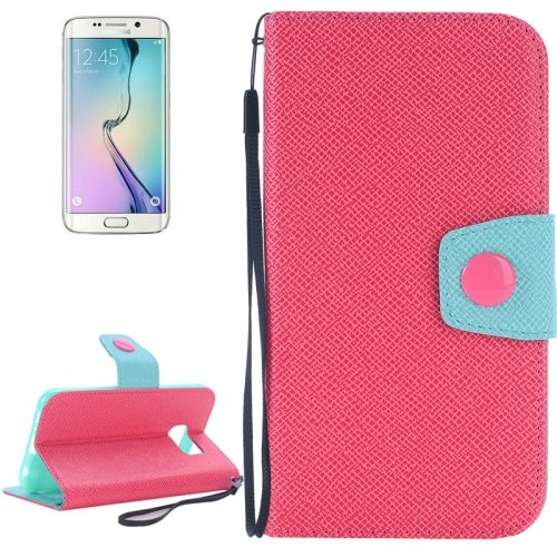 Korean Style Magnetic Flip Wallet Case Cover for Samsung Galaxy S6 Edge (Red+Blue)