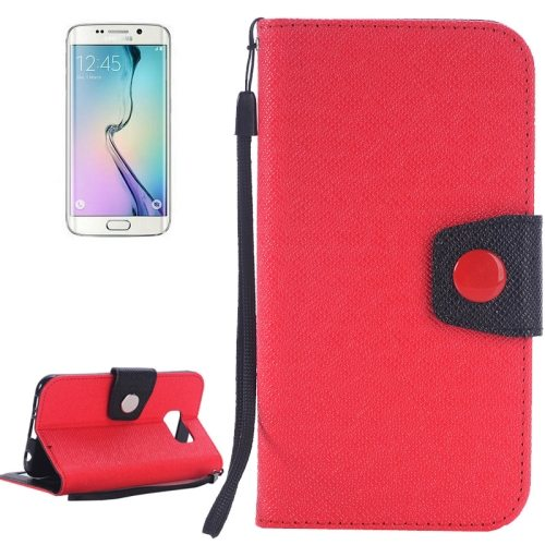 Korean Style Magnetic Flip Wallet Case Cover for Samsung Galaxy S6 Edge (Red+Black)