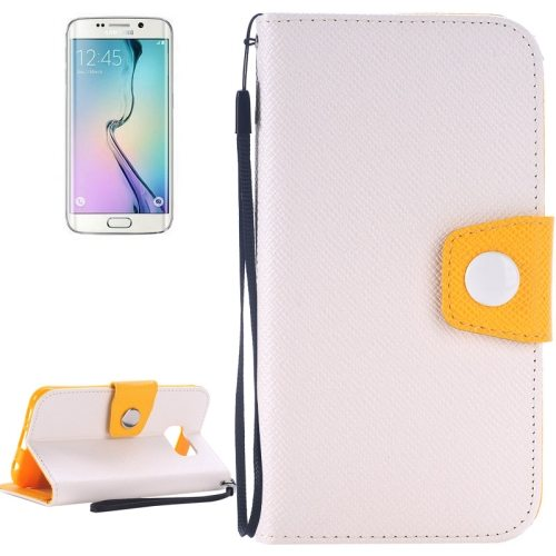 Korean Style Magnetic Flip Wallet Case Cover for Samsung Galaxy S6 Edge (White+Yellow)
