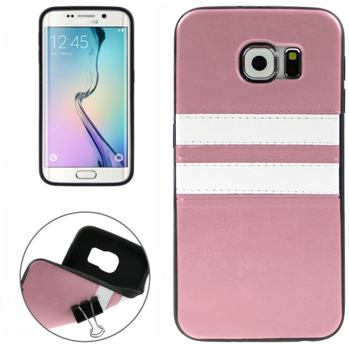 2015 Bulk Buy from China Leather Coated Soft TPU Case for Samsung Galaxy S6 Edge (Pink)