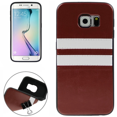 2015 Bulk Buy from China Leather Coated Soft TPU Case for Samsung Galaxy S6 Edge (Brown)