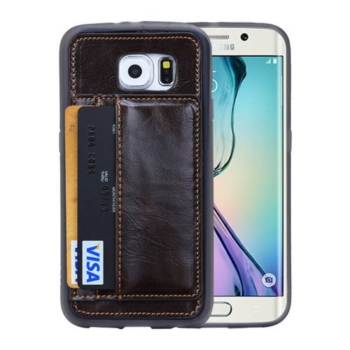 Crazy Horse Texture Wallet Style Flip Stand PU Leather Card Slots Case for Samsung Galaxy S6 Edge (Coffee)