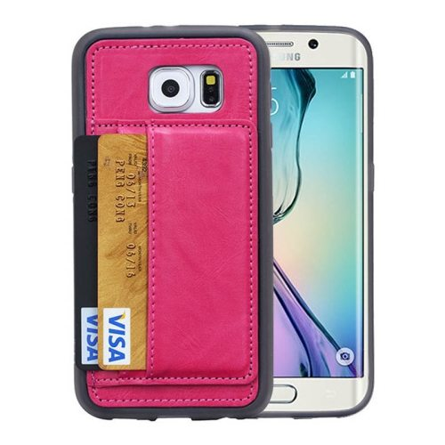 Crazy Horse Texture Wallet Style Flip Stand PU Leather Card Slots Case for Samsung Galaxy S6 Edge (Rose)