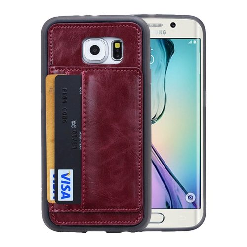 Crazy Horse Texture Wallet Style Flip Stand PU Leather Card Slots Case for Samsung Galaxy S6 Edge (Red Brown)
