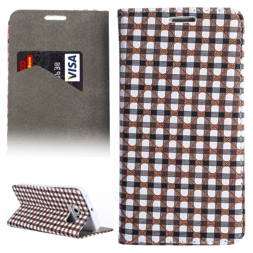 Colorful Grid Pattern Leather Wallet Case for Samsung Galaxy S6 Edge with Holder and Card Slots (Gray+Black)