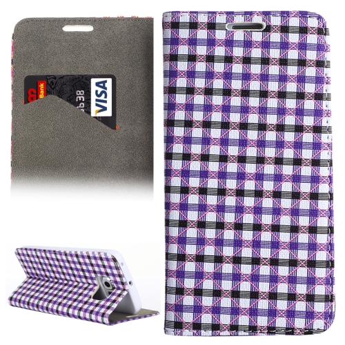 Colorful Grid Pattern Leather Wallet Case for Samsung Galaxy S6 Edge with Holder and Card Slots (Purple+Black)