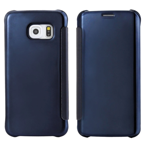Solid Color Plating Mirror Horizontal Flip Leather Case for Samsung Galaxy S6 edge (Dark Blue)