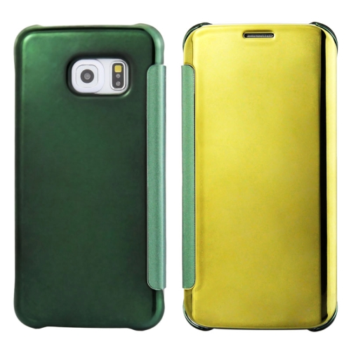 Solid Color Plating Mirror Horizontal Flip Leather Case for Samsung Galaxy S6 edge (Green+Gold)