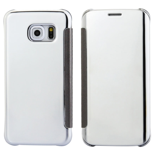 Solid Color Plating Mirror Horizontal Flip Leather Case for Samsung Galaxy S6 edge (White)