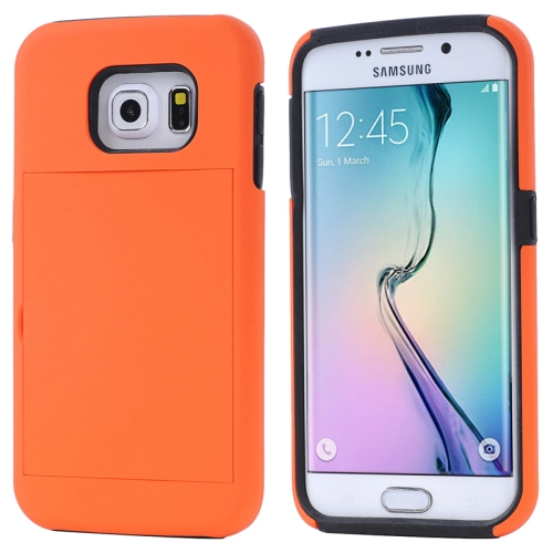 2 in 1 Shockproof Silicone and PC Card Slot Hybrid Case for Samsung Galaxy S6 Edge (Orange)
