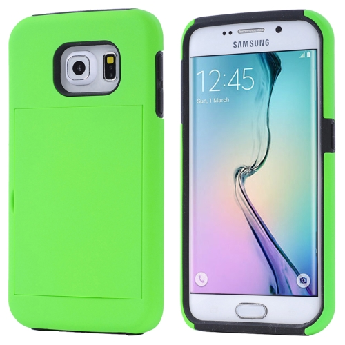 2 in 1 Shockproof Silicone and PC Card Slot Hybrid Case for Samsung Galaxy S6 Edge (Green)