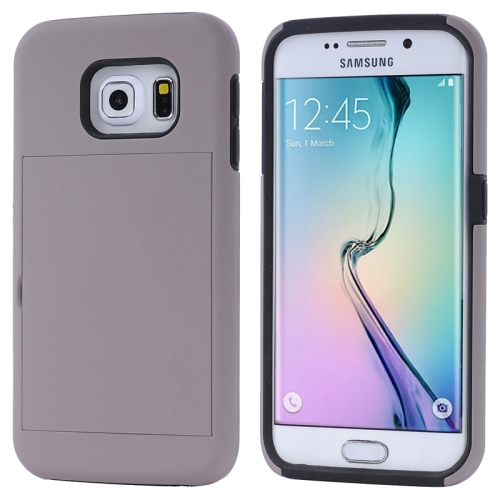 2 in 1 Shockproof Silicone and PC Card Slot Hybrid Case for Samsung Galaxy S6 Edge (Gray)