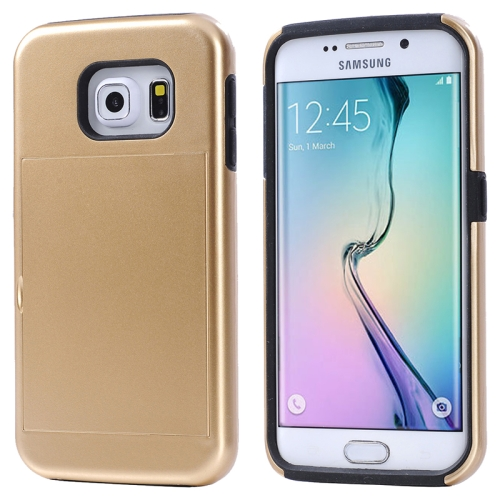 2 in 1 Shockproof Silicone and PC Card Slot Hybrid Case for Samsung Galaxy S6 Edge (Golden)