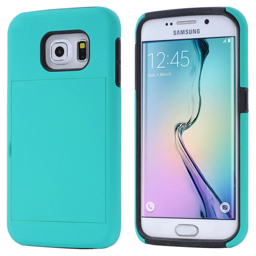 2 in 1 Shockproof Silicone and PC Card Slot Hybrid Case for Samsung Galaxy S6 Edge (Cyan)