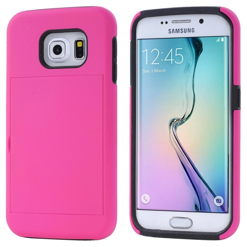 2 in 1 Shockproof Silicone and PC Card Slot Hybrid Case for Samsung Galaxy S6 Edge (Rose)
