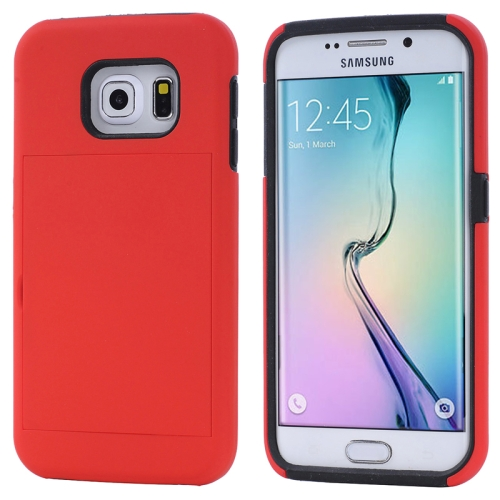 2 in 1 Shockproof Silicone and PC Card Slot Hybrid Case for Samsung Galaxy S6 Edge (Red)