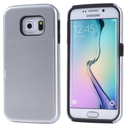 2 in 1 Shockproof Silicone and PC Card Slot Hybrid Case for Samsung Galaxy S6 Edge (Silver)