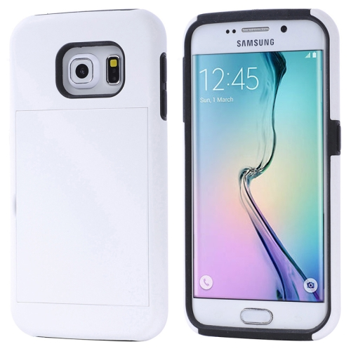 2 in 1 Shockproof Silicone and PC Card Slot Hybrid Case for Samsung Galaxy S6 Edge (White)