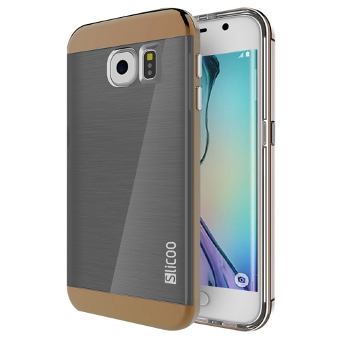 New Electroplating Slicoo Brushed Texture Combination Case for Samsung Galaxy S6 Edge (Coffee)