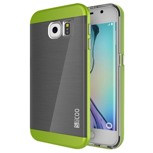 New Electroplating Slicoo Brushed Texture Combination Case for Samsung Galaxy S6 Edge (Green)