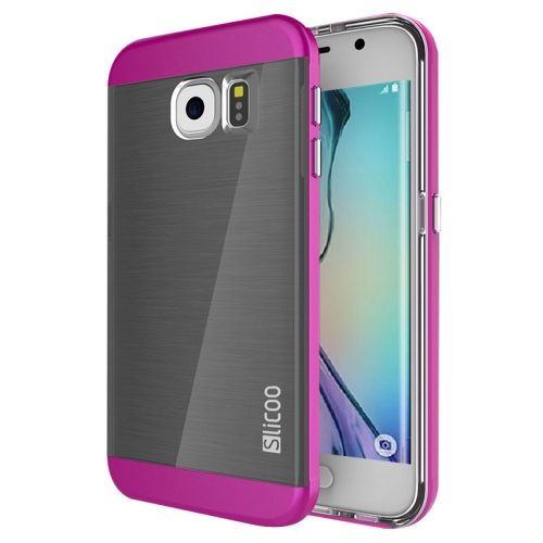 New Electroplating Slicoo Brushed Texture Combination Case for Samsung Galaxy S6 Edge (Magenta)