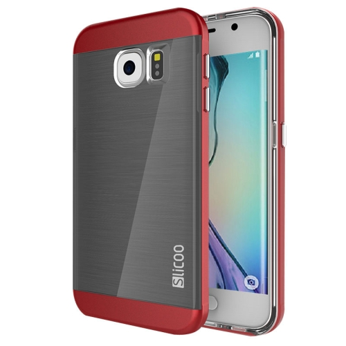 New Electroplating Slicoo Brushed Texture Combination Case for Samsung Galaxy S6 Edge (Red)