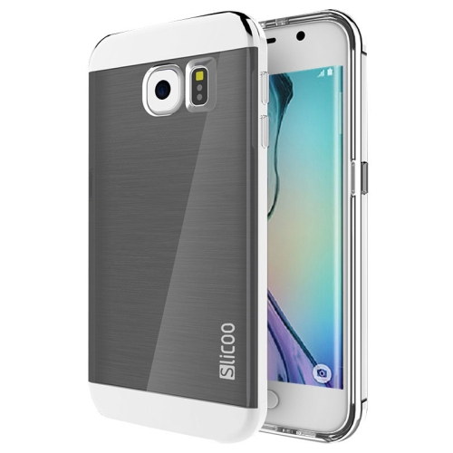 New Electroplating Slicoo Brushed Texture Combination Case for Samsung Galaxy S6 Edge (Silver)