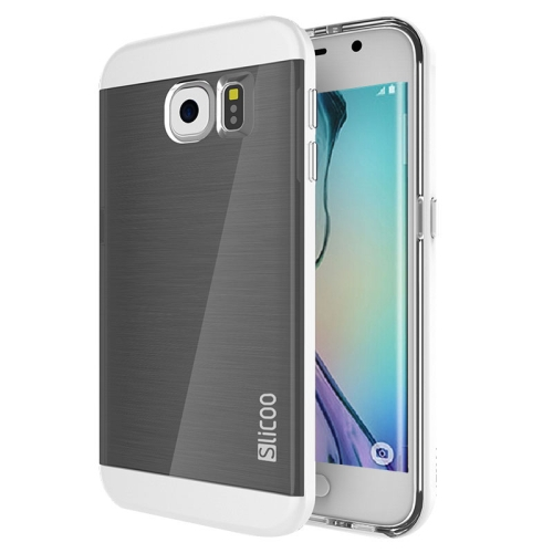 New Electroplating Slicoo Brushed Texture Combination Case for Samsung Galaxy S6 Edge (White)