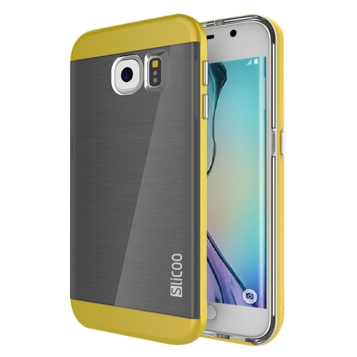 New Electroplating Slicoo Brushed Texture Combination Case for Samsung Galaxy S6 Edge (Yellow)
