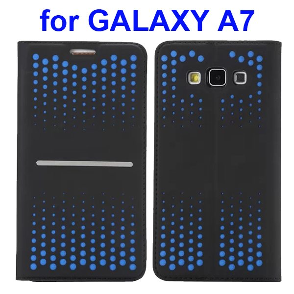Hollow and Color Gradation Magnetic Buckle Leather Phone Case for Samsung Galaxy A7 (Light Blue)