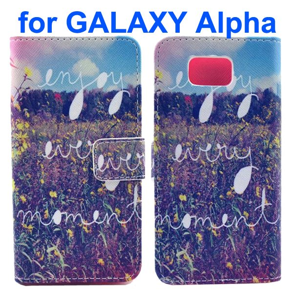 Cross Texture Wallet Style Flip Leather Case for Samsung Galaxy Alpha with Card Slots (Rice Field)