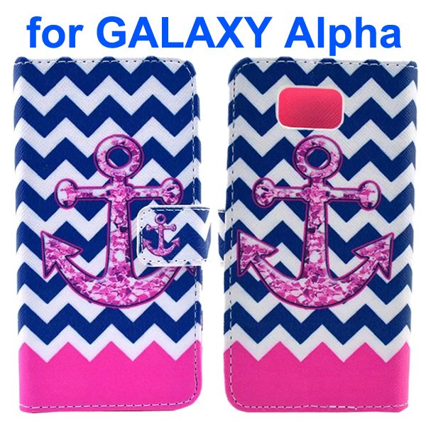 Cross Texture Wallet Style Flip Leather Case for Samsung Galaxy Alpha with Card Slots (Anchor)