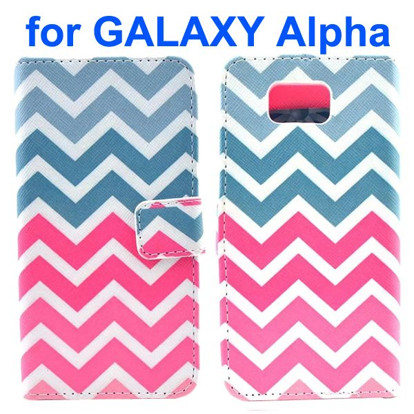 Cross Texture Wallet Style Flip Leather Case for Samsung Galaxy Alpha with Card Slots (Wave Stripes)